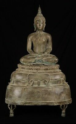 19th Century Antique Thai Sukhothai Meditation Buddha Statue - 110cm/44""