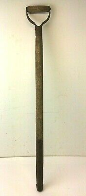 Antique Old Decorative Wood Metal Iron Early Farm Tool Handle Part