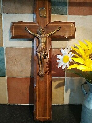 Wooden carved French Vintage Crucifix, Christian, Religious Item,