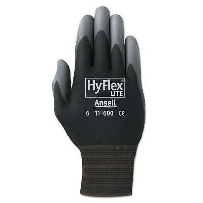 AnsellPro HyFlex Lite Gloves, Black/Gray, Size 9, 12 Pairs 076490007553