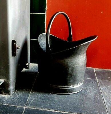 Small Black Metal Traditional Helmet Style Fireside Coal Bucket