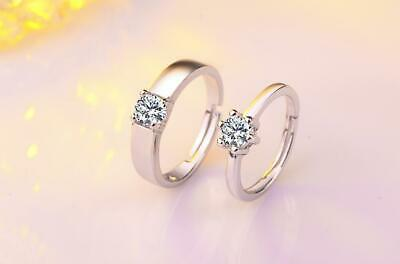 Sparkling 925 Sterling Silver 0.5 Ct Cubic Zirconia Adjustable Couple Ring R17