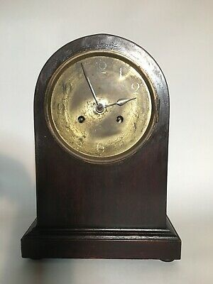 German Round-Top Mahogany Mantle Kienzle Clock Antique