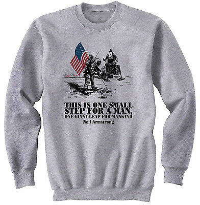 Teesquare1st Mens NEIL ARMSTRONG QUOTE White Sweatshirt