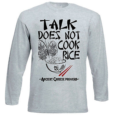 Ancient Chinese Proverb Talk Quote - New Cotton Grey Tshirt