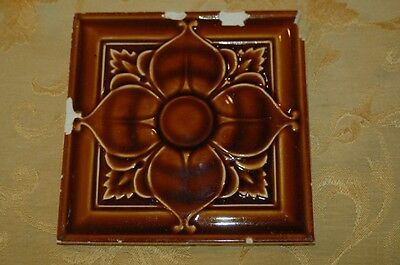 "1 Antique Art Nouveau 6""x6"" Floor or Wall Tile 1890s"