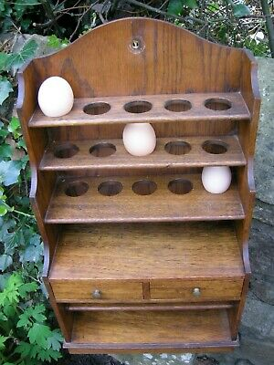 Edwardian Oak Wall Mounted Egg Rack (Holds up to 15 Eggs) with Drawers & Storage