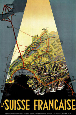 Vintage Railroad Connection poster of Swiss French region 16x24