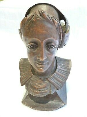 Antique Edwardian French Carved Bust Lovely Detail Architectural Carving