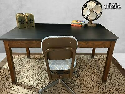 Refinished Farmhouse Wood Rustic Industrial Library Table Desk - ONE OF A KIND!