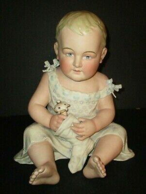 Antique Large German Porcelain Piano Baby Christmas Stocking Rattle Toy Bisque