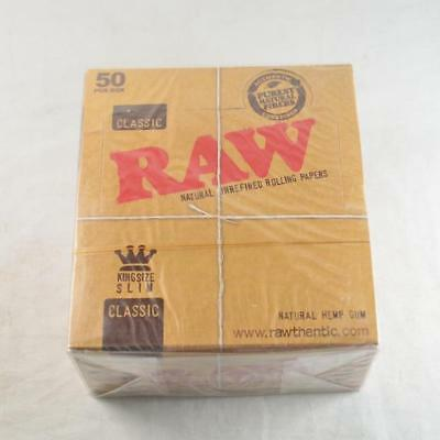 50 x RAW King Size Slim Classic Natural Unrefined Rizla Rolling Papers Brand New