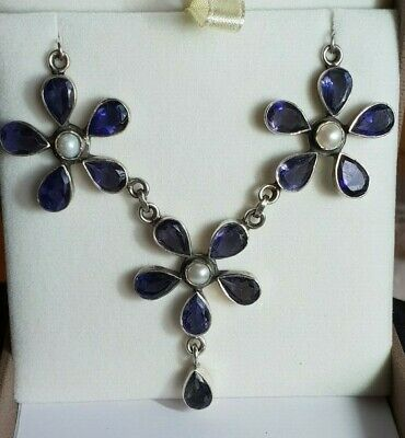 Amethyst and pearl Flower choker necklace handmade by Artisan Silversmith