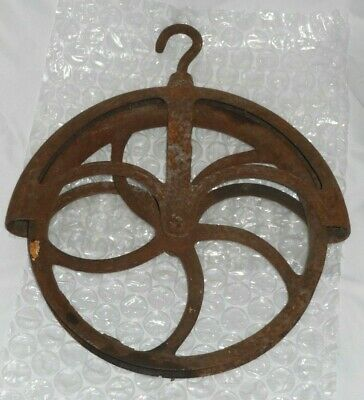 Vintage Cast Iron Water Well Pulley, Curved Spokes, Rustic Primitive Barn 11""
