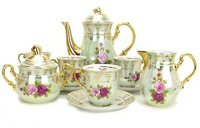 Euro Porcelain 29-pc Pink Red Roses Tea Cup Coffee Set Service for 12 - 24K Gold