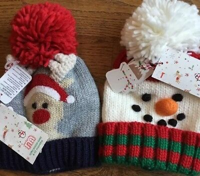 2 Mothercare Age 6-12 Months Christmas Pom- Pom Beanie Hats ** Bnwt **
