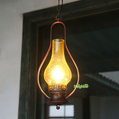 Vintage Loft Iron Pendant Light Balcony Ceiling Antique Style Glass Chandelier