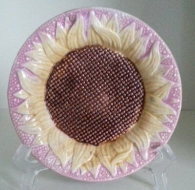 Pretty/Old Majolica ETRUSCAN Pink Sunflower Sauce Dish with Great Colors