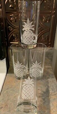 Set of Four Etched Highball Pineapple & Stripe Design Barware Glasses 12 ounce