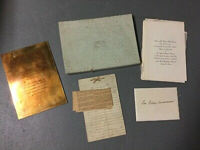 Vintage 1918 TIFFANY & CO Wedding Invitations and Copper Printing Plate In Box