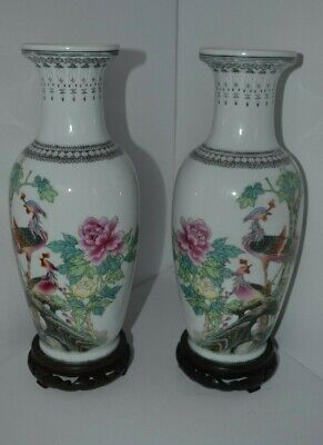 Vintage Asian Oriental Chinese Birds With Wood Stands Pair Vase Signed Porcelain