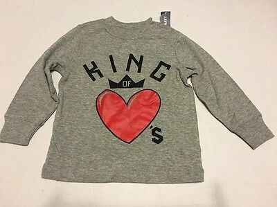 Toddler Boys Tee Shirt Sz 3T Old Navy Gray Long Sleeve King Of Hearts