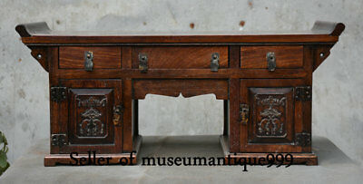 """22"""" Old Chinese Huanghuali Wood Dynasty Classical furniture drawer Desk Table"""