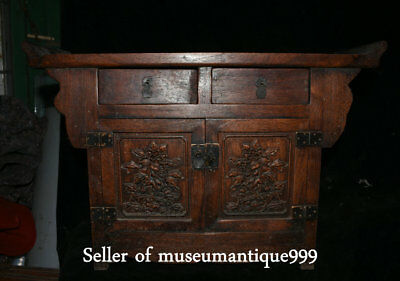 51CM Old Chinese Huanghuali wood Dynasty Carved drawer Desk cabinet cupboard