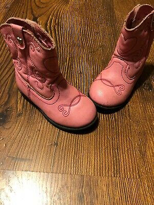a12eb47c1 Healthtex Girls Faux Leather Cowboy Cowgirl Boots Size 5c Pink Toddlers