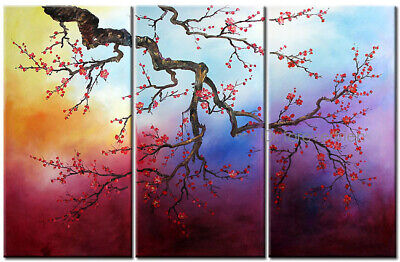 Large Cherry Blossom Tree Abstract Floral Oil Painting On Canvas Framed Decor