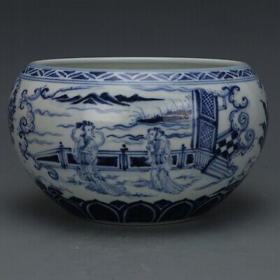 Fine Chinese Ming Dynasty Blue White Porcelain Figure Wash