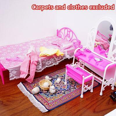 Girls Dollhouse Toys Pink Bed Dressing Table & Chair Set Dolls Bedroom Furniture
