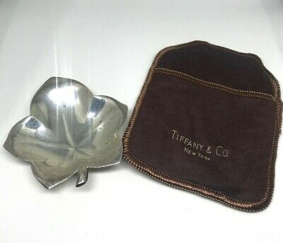 Collectible Estate Designer TIFFANY & CO. Makers Sterling Silver Leaf Ring Tray