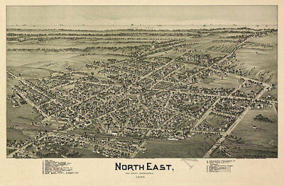 North East PA c1896 map 36x24