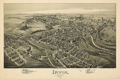 Map of Irwin PA c1897 map 36x24