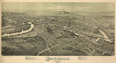Honesdale PA c1890 map 36x20