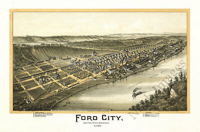 Ford City PA c1896 map 36x24
