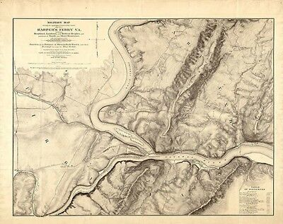 Map of Harpers Ferry VA c1863 24x30