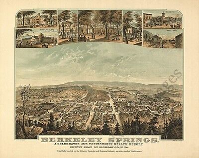 Berkeley Springs panorama WV c1889 map 24x30