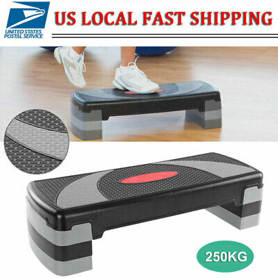 """31'' Fitness Aerobic Step Adjust 4"""" - 6"""" - 8"""" Exercise Stepper w/Risers US STOCK"""