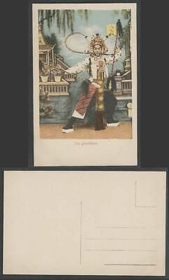China Old Postcard Eight Hammers YueFei Chinese Actor Stage Costume Peking Opera