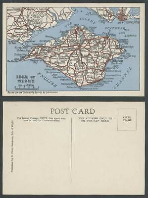 Isle of Wight MAP Old Postcard Yarmouth Newport Sandown Spithead Portsmouth etc