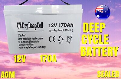 170A AGM 12V DEEP CYCLE BATTERY SEALED CAMPER TRAILER PortablePower Solar Marin