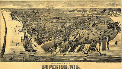 Superior WI panorama c1890 map 24x14