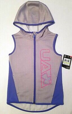 Under Armour Girls Hooded Gray Vest Jacket Top Size 4