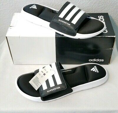 1314e9f4415f MENS ADIDAS SUPERSTAR 5G Black Slides Athletic Sport Sandals Sizes 9 ...