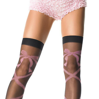 Fashion Lycra Sheer Thigh High Stocking Pink Woven Criss Cross Bow By Leg Avenue