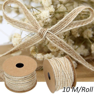 10M/Roll Natural Jute Burlap Hessian Rustic Ribbon Lace Trims Tape Wedding Decor