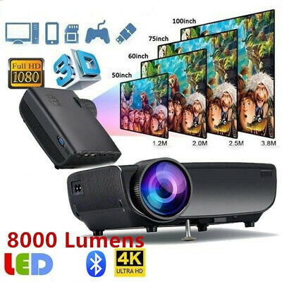 8000 Lumens 1080P 3D 4K HD LED Projector Home Theater Cinema for Android/IOS
