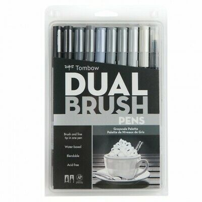 Tombow Dual Brush Pens Set of 10 - Grey Scale Set